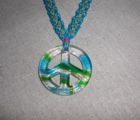 Glass Peace Sign Macrame Necklace