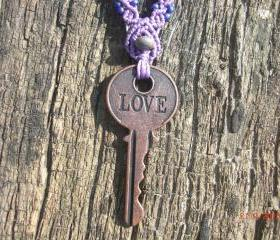 Engraved Love Key Necklace