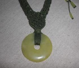 Light Green Aventurine Donut Pendant /Macrame Necklace